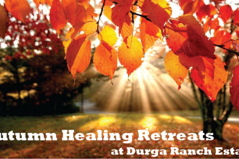 """Autumn Leaves with """"Autumn Healing Retreats at Durga Ranch Estate"""" text at the bottom"""
