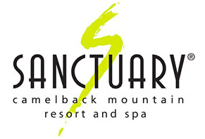 Sanctuary Resort Camelback logo, black text with a lime green S shape drawn through the middle