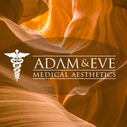 white Adam and Eve Medical Aesthetics logo on orange and brown background